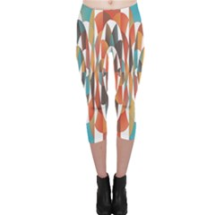 Colorful Geometric Abstract Capri Leggings  by linceazul