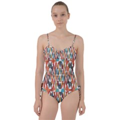 Colorful Geometric Abstract Sweetheart Tankini Set by linceazul