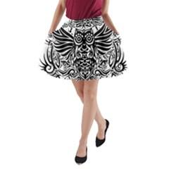 Tattoo Tribal Owl A Line Pocket Skirt by Valentinaart