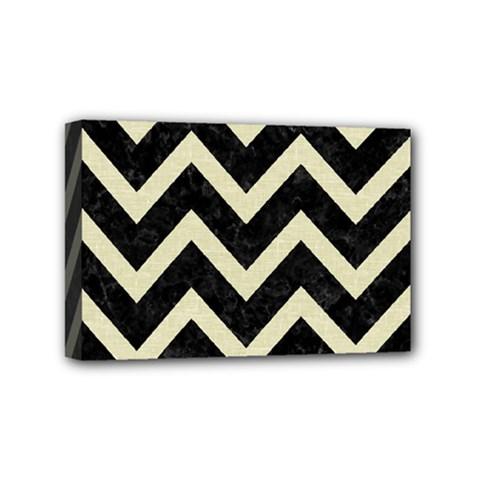 Chevron9 Black Marble & Beige Linen Mini Canvas 6  X 4  by trendistuff