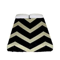 Chevron9 Black Marble & Beige Linen Fitted Sheet (full/ Double Size) by trendistuff