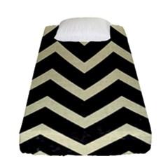 Chevron9 Black Marble & Beige Linen Fitted Sheet (single Size) by trendistuff