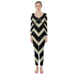 Chevron9 Black Marble & Beige Linen Long Sleeve Catsuit by trendistuff