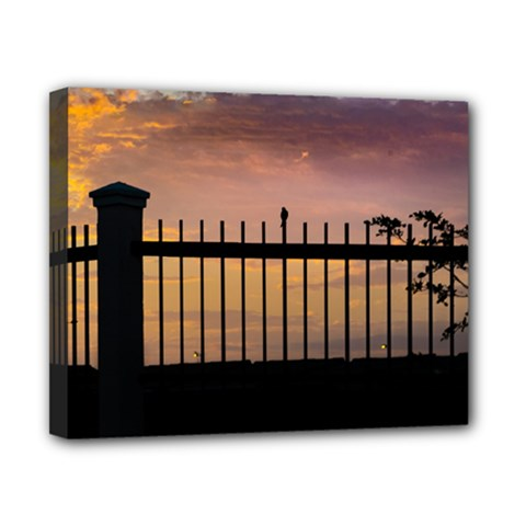 Small Bird Over Fence Backlight Sunset Scene Canvas 10  X 8  by dflcprints