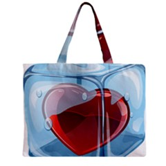 Heart In Ice Cube Zipper Mini Tote Bag by BangZart