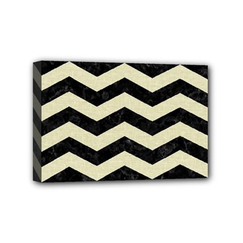 Chevron3 Black Marble & Beige Linen Mini Canvas 6  X 4  by trendistuff
