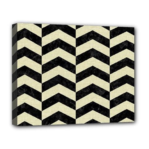 Chevron2 Black Marble & Beige Linen Deluxe Canvas 20  X 16   by trendistuff