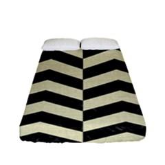 Chevron2 Black Marble & Beige Linen Fitted Sheet (full/ Double Size) by trendistuff