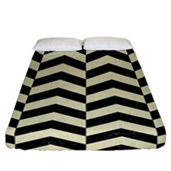 Chevron2 Black Marble & Beige Linen Fitted Sheet (california King Size) by trendistuff