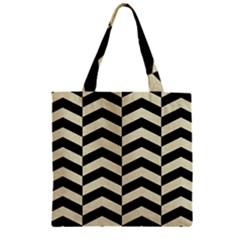 Chevron2 Black Marble & Beige Linen Zipper Grocery Tote Bag by trendistuff