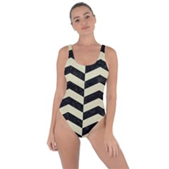 Chevron2 Black Marble & Beige Linen Bring Sexy Back Swimsuit