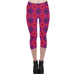 Retro Abstract Boho Unique Capri Leggings