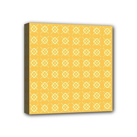 Yellow Pattern Background Texture Mini Canvas 4  X 4  by BangZart