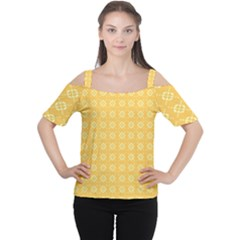 Yellow Pattern Background Texture Cutout Shoulder Tee by BangZart