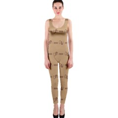 Brown Pattern Background Texture Onepiece Catsuit by BangZart