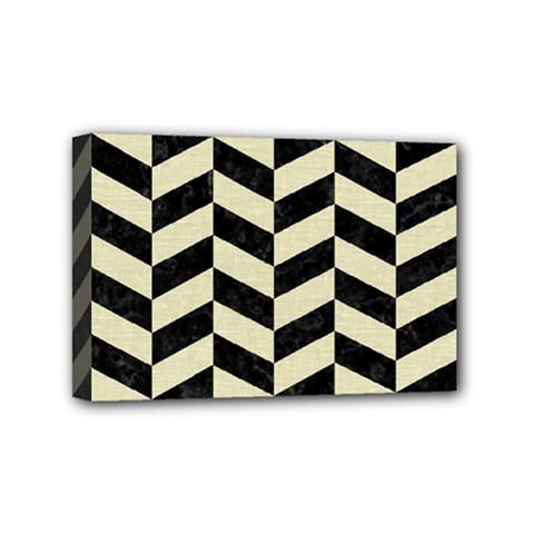 Chevron1 Black Marble & Beige Linen Mini Canvas 6  X 4  by trendistuff