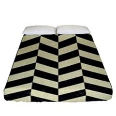 Chevron1 Black Marble & Beige Linen Fitted Sheet (queen Size) by trendistuff