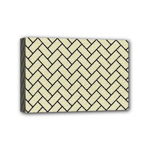 Brick2 Black Marble & Beige Linen (r) Mini Canvas 6  X 4  by trendistuff