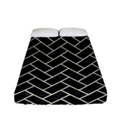 Brick2 Black Marble & Beige Linen Fitted Sheet (full/ Double Size) by trendistuff