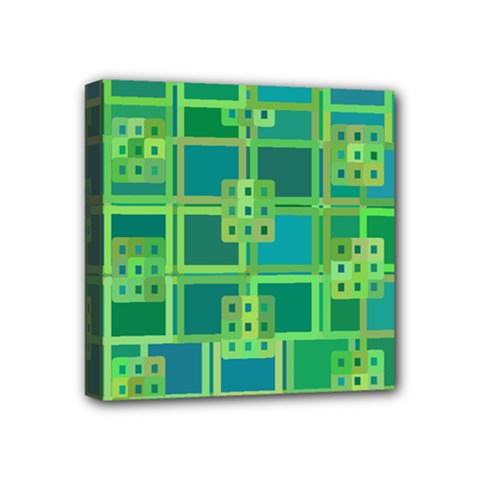 Green Abstract Geometric Mini Canvas 4  X 4  by BangZart