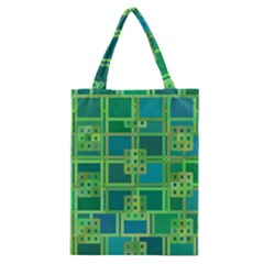 Green Abstract Geometric Classic Tote Bag by BangZart