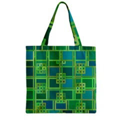 Green Abstract Geometric Zipper Grocery Tote Bag by BangZart