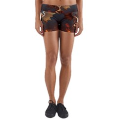 Angels Wings Curious Hell Heaven Yoga Shorts by BangZart