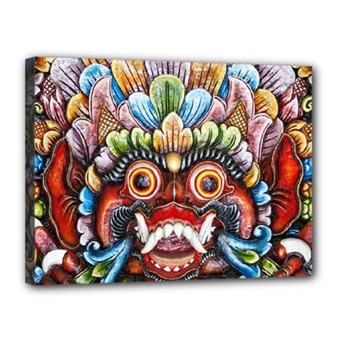 Wood Sculpture Bali Logo Canvas 16  X 12  by BangZart