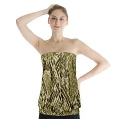 Yellow Snake Skin Pattern Strapless Top