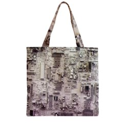White Technology Circuit Board Electronic Computer Zipper Grocery Tote Bag by BangZart