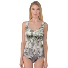 White Technology Circuit Board Electronic Computer Princess Tank Leotard