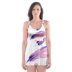 Watercolor Pattern With Feathers Skater Dress Swimsuit