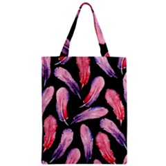 Watercolor Pattern With Feathers Zipper Classic Tote Bag by BangZart