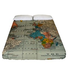 Vintage World Map Fitted Sheet (queen Size) by BangZart