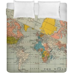 Vintage World Map Duvet Cover Double Side (california King Size)