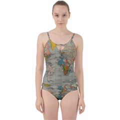 Vintage World Map Cut Out Top Tankini Set