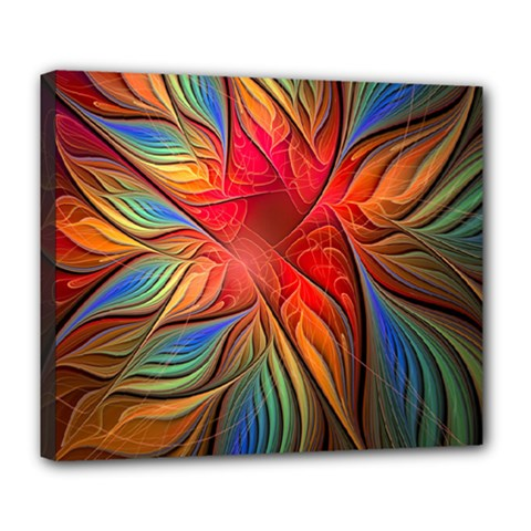 Vintage Colors Flower Petals Spiral Abstract Deluxe Canvas 24  X 20   by BangZart