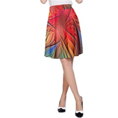 Vintage Colors Flower Petals Spiral Abstract A Line Skirt by BangZart