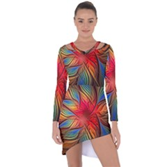 Vintage Colors Flower Petals Spiral Abstract Asymmetric Cut Out Shift Dress