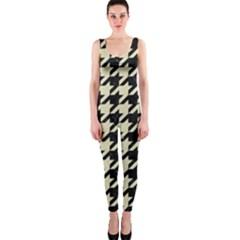 Houndstooth2 Black Marble & Beige Linen Onepiece Catsuit by trendistuff