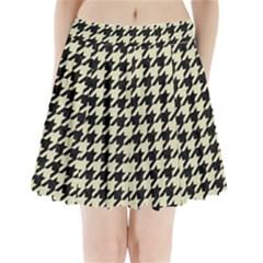 Houndstooth2 Black Marble & Beige Linen Pleated Mini Skirt by trendistuff