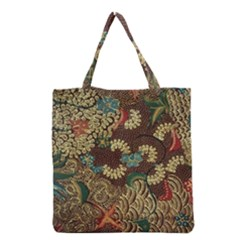 Traditional Batik Art Pattern Grocery Tote Bag by BangZart