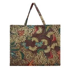 Traditional Batik Art Pattern Zipper Large Tote Bag by BangZart