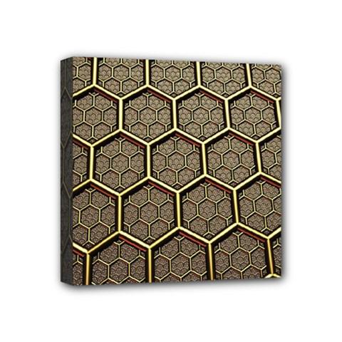 Texture Hexagon Pattern Mini Canvas 4  X 4  by BangZart