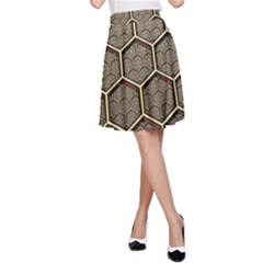 Texture Hexagon Pattern A Line Skirt