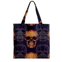Skull Pattern Zipper Grocery Tote Bag by BangZart