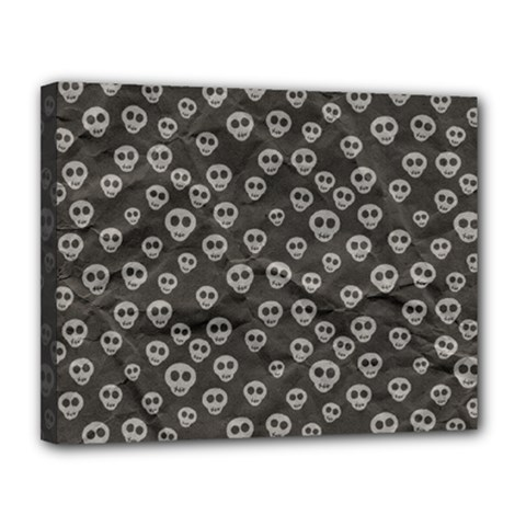 Skull Halloween Background Texture Canvas 14  X 11  by BangZart