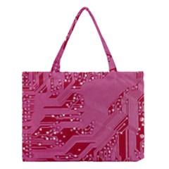 Pink Circuit Pattern Medium Tote Bag by BangZart