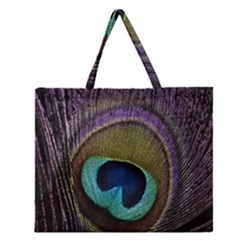 Peacock Feather Zipper Large Tote Bag by BangZart