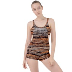 Natural Wood Texture Boyleg Tankini Set
